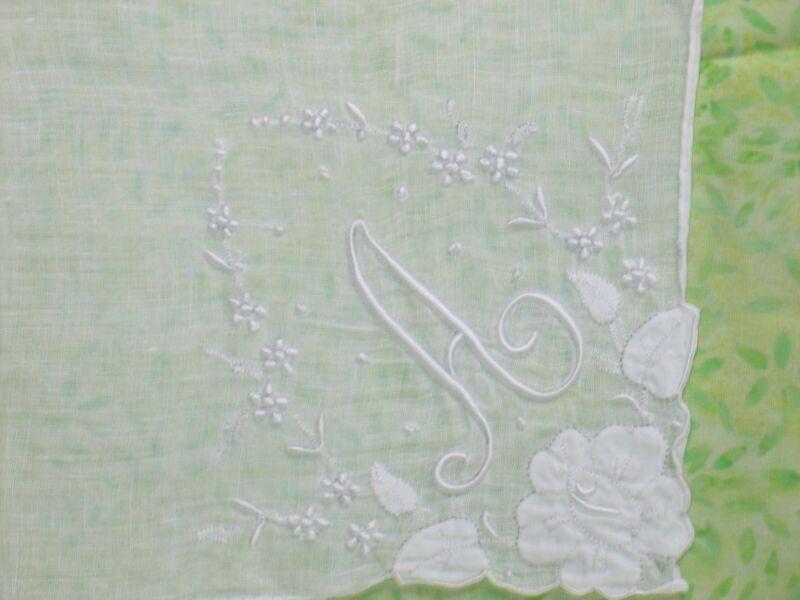 "Antique Monogram ""A"" Hankie-Vintage Madeira Embroidery Handkerchief Hanky"