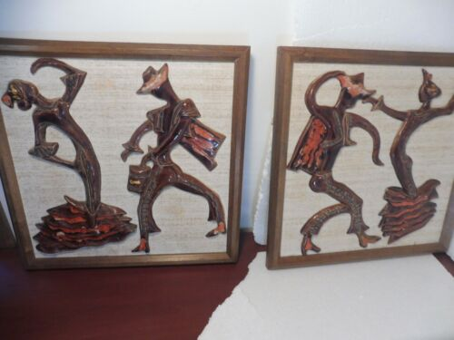 VINTAGE 2 COLORFUL CHALVIGNAC WALL PLAQUES SPANISH DANCERS  Lava Drip Pottery