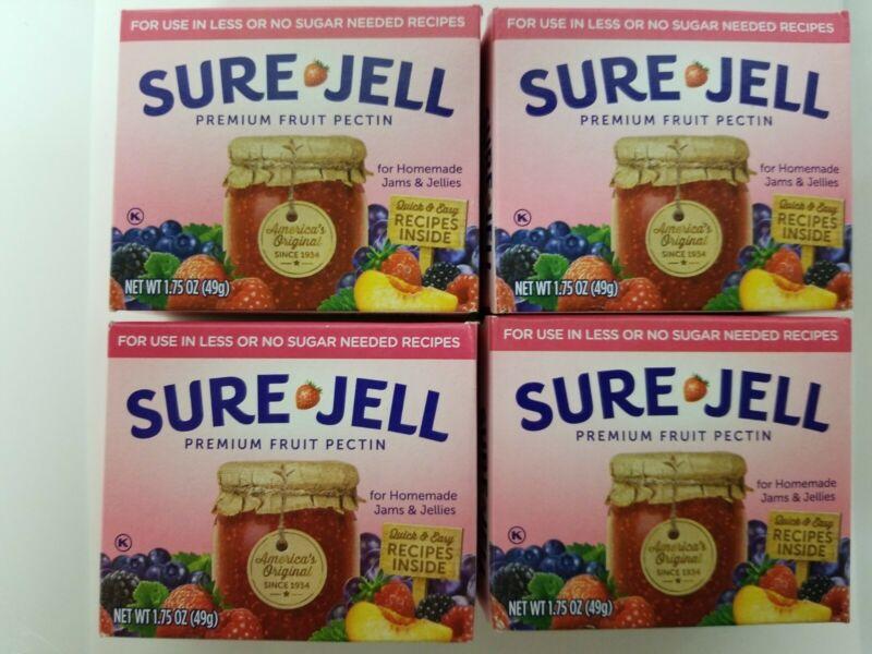 (4 Pack) SURE JELL Premium Fruit Pectin LOW or NO SUGAR Recipes 1.75oz EXP 04/23