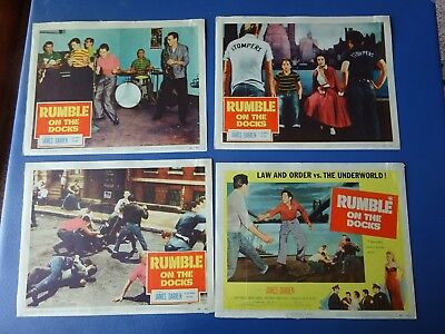 1956 Rumble On The Docks 4 Lobby Cards  James Darren