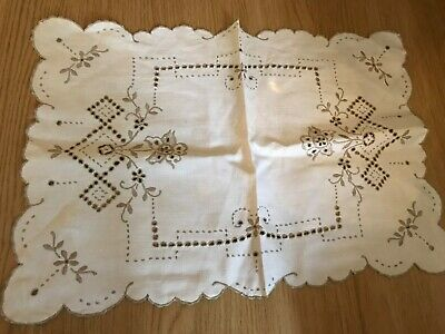 cream/ ecru linen embroidered tray cloth / table mat