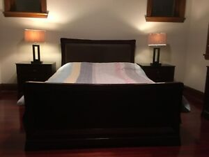Queen bed frame with bedside tables