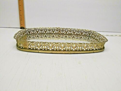 Vintage Vanity Perfume Makeup Mirror Ornate Gold Frame Dresser Table Tray
