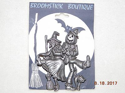 Pewter Scarecrow and Witch signed DANECRAFT 80's-90's Costume fashion brooch pin