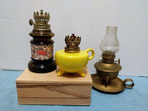 Vintage Small Miniature Oil Kerosene Lamps (3)