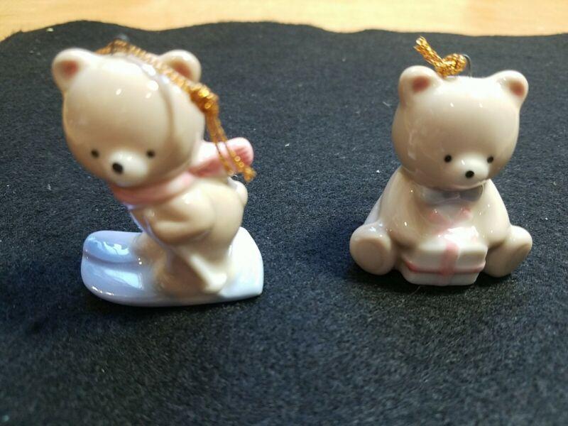 2 Russ Teddy Bear Christmas Ornaments 2863 Skis Gift Porcelain 2in Japan VTG