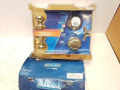 Schlage Keyed Entry Door Knob Security Set Fb350n V Ply 505 Bright Brass Nos