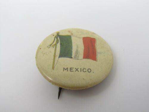 Mexico Pin Button Antique Vintage Flag Design