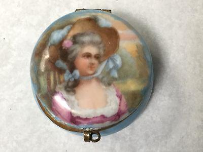Antique Small Germany handpainted porcelain patch box dresser jar