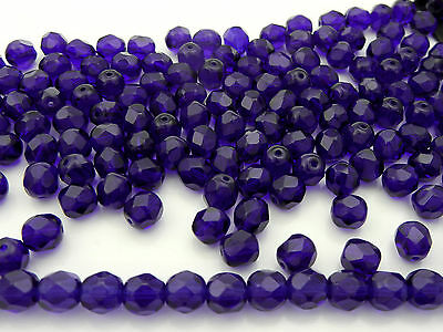 300 Preciosa Czech Glass Fire Polished Beads 6mm Cobalt Blue, rich navy blue