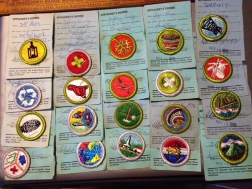 Lot of 20 Merit Badges On Cards 1974-1979 One Scout