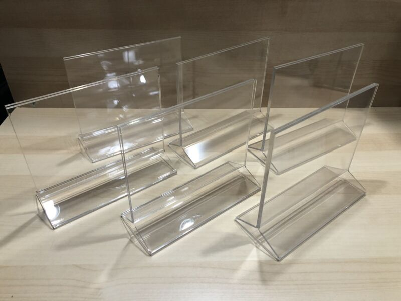 """6 Double-Sided Table Top Acrylic Sign Holders 7"""" x 5"""" T-style, top load"""