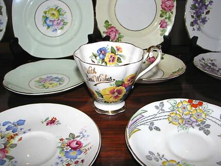 Pretty English China Matching Tea Plates & Sauces + 1 Tea Cup