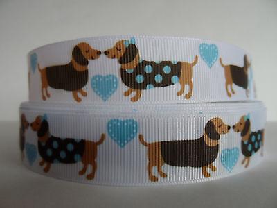 Grosgrain Ribbon, Dachshund Weenie Doggies In Love with Blue Hearts, -