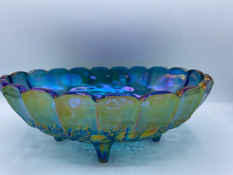 Harvest Grape Large Carnival Glass Footed Fruit Bowl - Iridescent Blue Green