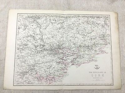 Antique Map of Cork Ireland Old Hand Coloured 19th Century Original