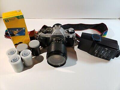 Canon AE-1 Program 35mm SLR Film Camera With Vivitar 35-50mm Lens Bundle