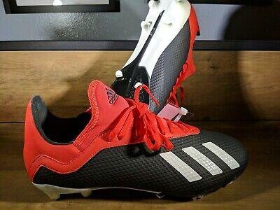 Adidas X 18.3 FG Soccer Cleats Black / Red BB9370 Boys 4Y Youth Size 4