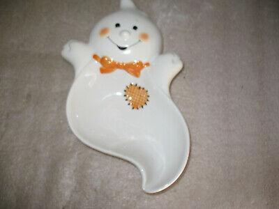 Vintage Hallmark Halloween Friendly Ghost Ceramic Candy Dish