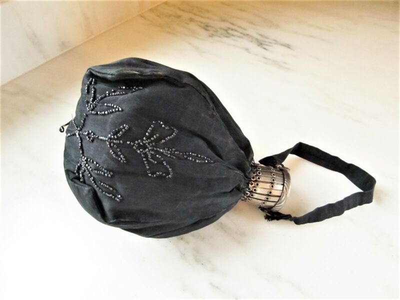 Antique Victorian Black Beaded Handbag W/ Expandable Necklace C2832