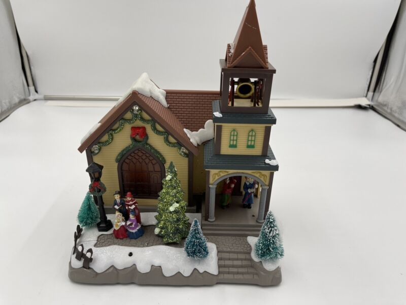 Eluceo in Motion Animated Christmas Carolers Lighted Musical Church Bell Ringers