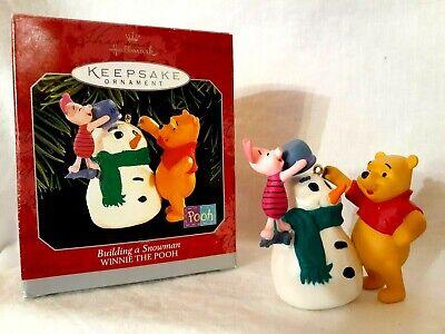 "Hallmark ""Building A Snowman"" Winnie the Pooh Christmas Ornament---Dated: 1998"