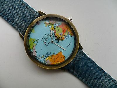 Denim-armband (Selten Weltkarte Globus Quarz Flugzeug Armbanduhr Blau Denim Armband)