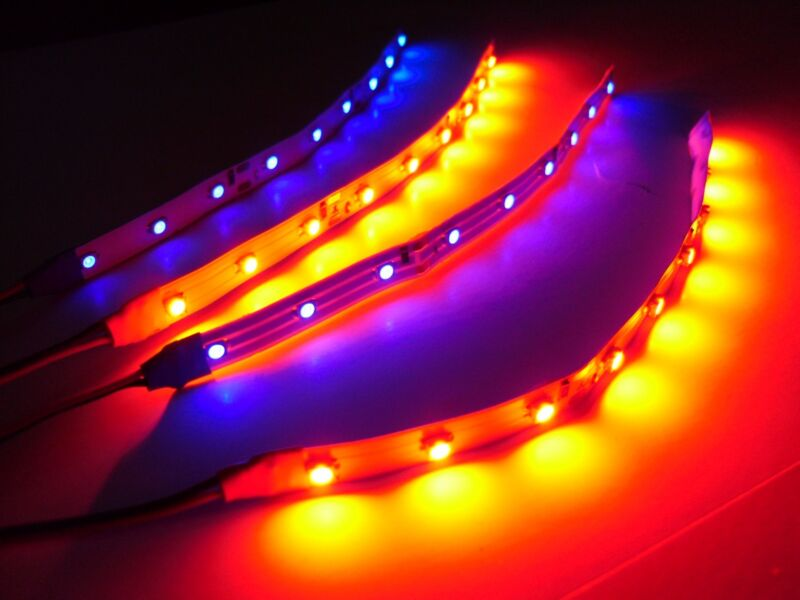 """6"""" RC Blue and Red Underbody LED Strip Lights Superbright FPV Quadcopter 4pc"""