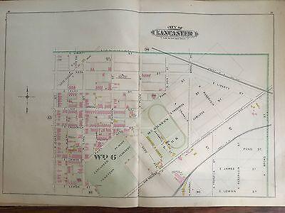 1899 LANCASTER CITY PA MCGRANN'S PARK PLATS 15-18 ATLAS MAP (Park City Lancaster Pa)