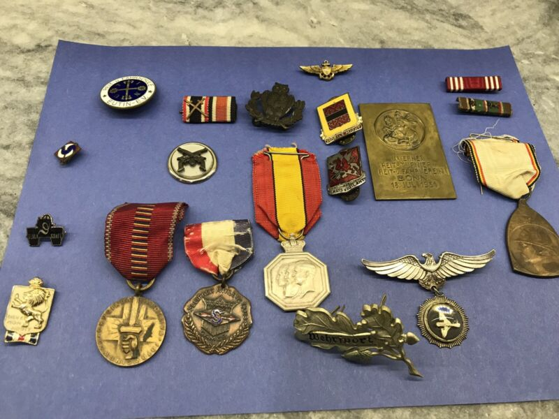 19 Piece GERMAN WARTIME GROUPING-MEDALS, RIBBONS, SILVER AND GOLD