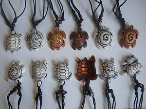 Ethnic-Tribal-Faux-Yak-Bone-Carving-Animal-Surfer-Sea-Turtle-Pendant-Necklace