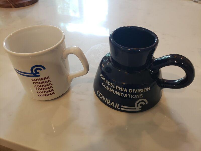 Vintage CONRAIL Railroad Logo Ceramic Coffee Mugs