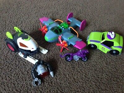 Imaginext Rare DC Batman Villains Vehicles Lot Joker Plane Riddler Car Bane Cat