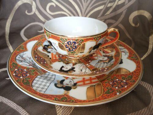High quality Vintage Japanese Tea Sets Porcelain 3 Pieces lithopane Geisha girl