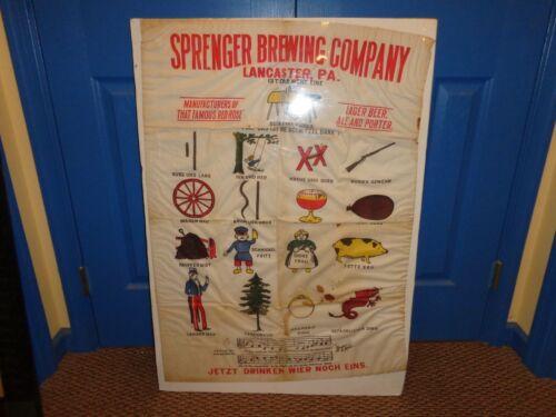 Vintage Sprenger Brewery Cloth Advertising Sign, Hanging Panel, Lancaster, Pa.
