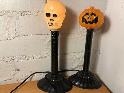 Vintage Plastic Blow Mold Halloween Electric Window Candles - JOL & Skull