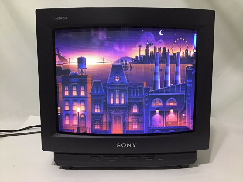 "Vtg Sony Trinitron KV-13TR24 13"" CRT TV Monitor Television with Remote Tested"