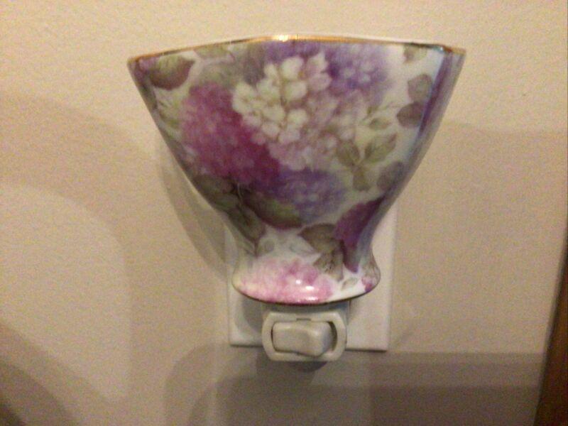 Formalities By Baum Bros. Night-light Porcelain Half Tea Cup Hydrangea floral