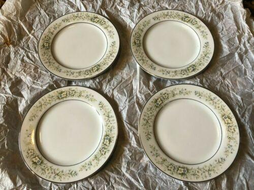"4 Dream Time Oxford 6-1/4"" Bread Butter Plate Pastel Floral Platinum Trim Japan"