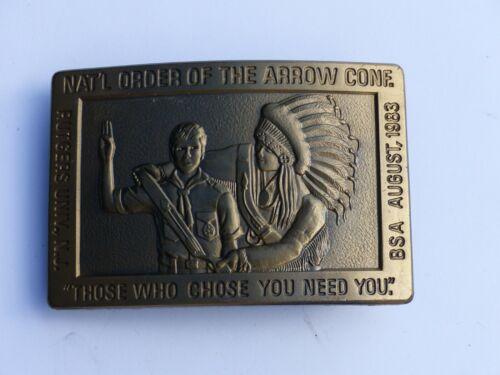 Unused 1983 NOAC N.J. Order of the Arrow Boy Scout BSA Metal Belt Buckle OA WWW