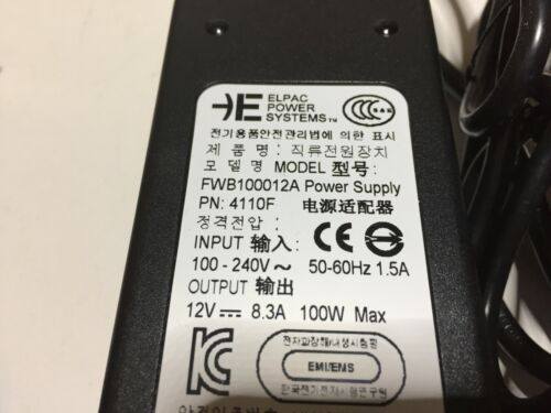 Elpac FWA150015A AC Adapter 100w DC Power Supply for RED DSMC Video Camera