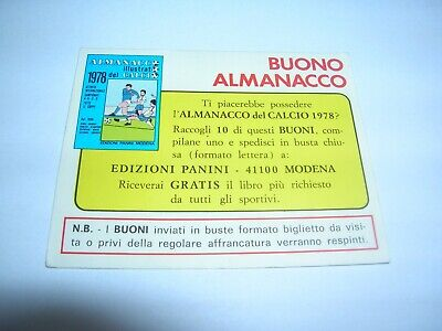 PANINI Buono Almanacco Calcio 1978
