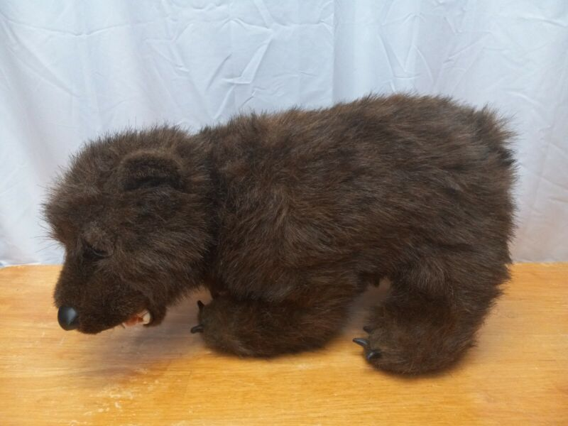 """Large 20"""" Brown Grizzly Bear Plush Walking Discovery Channel 1999 Open Mouth"""