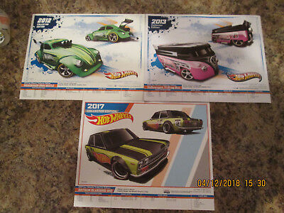 (3) Hot Wheels Collector Edition K-mart Posters-2012, 2013, 2017