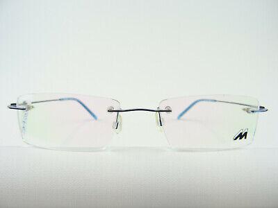 Blaue Randlos Fassung Markenbrille eckig MEITZNER CORDOBA unauffällig zart Gr. M