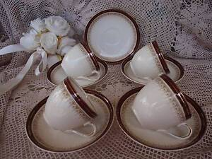"""VINTAGE ALFRED MEAKIN ENGLAND 4 CUPS.5 SAUCERS""""ROYAL WEMBLEY""""RARE Loganholme Logan Area Preview"""