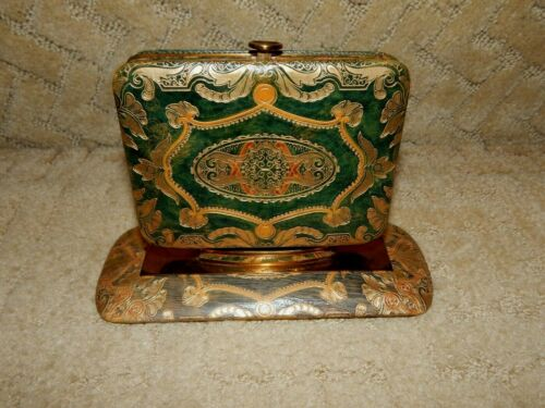 Rare VTG Gold Embossed Green Leather Dresser Wallet with Stand Italy Art Deco