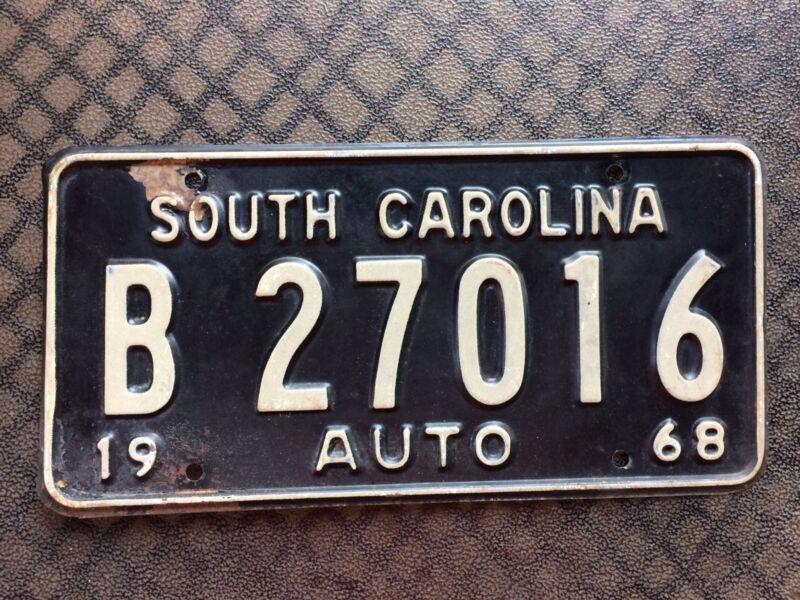 1968 SOUTH CAROLINA LICENSE PLATE B 27016