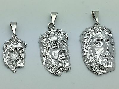 10k White Gold Jesus Christ Face Crown with Thorns Pendant Small Medium Large 10k White Gold Crown