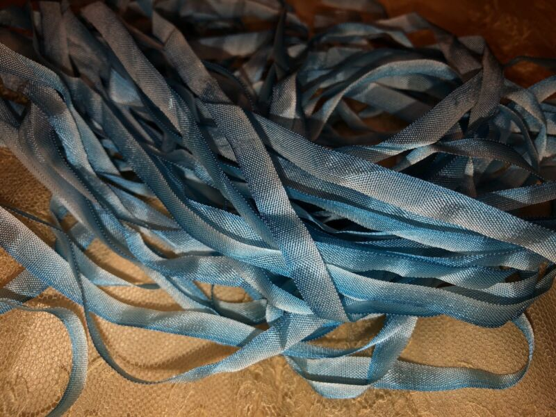 5.9 Yards ANTIQUE VINTAGE French Ombre BLUE Ribbon Trim 1/4""